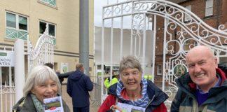Cricket fans Elaine Veyoivoy, Diane Armitage and Richard Armitage