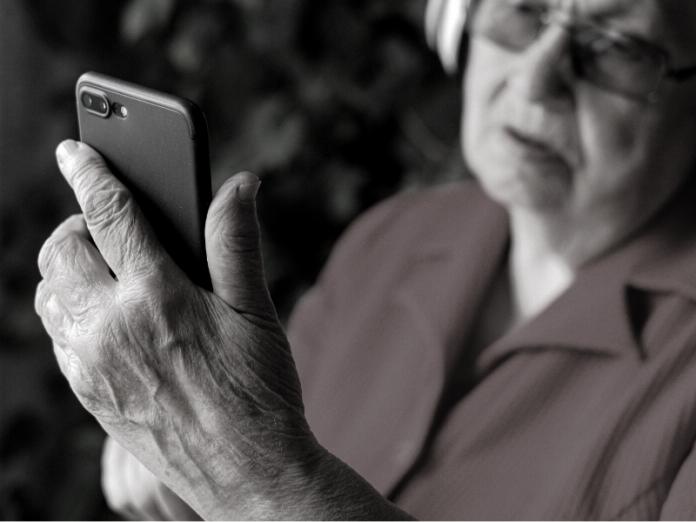 woman looking at phone